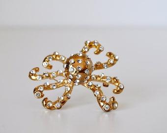 Vintage Rhinestone Octopus Brooch