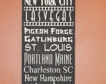 Vacation Destination Subway Art Distressed Painted Handmade Wooden Sign