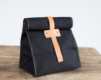No. 215T Lunch Tote in Black Duck Canvas & Natural Leather