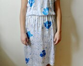 Vintage Floral Print Dress Flower and Square Pattern Dress Size Small Medium Gift For Her