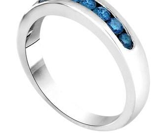 Platinum 7 Stone Blue Diamond Wedding & Anniversary Band 0.38 Carat Canal Set Handmade