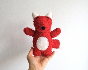 Fox, organic fox, red, white, plush, cuddly, soft, eco friendly, handmade, animal, toy, vegan