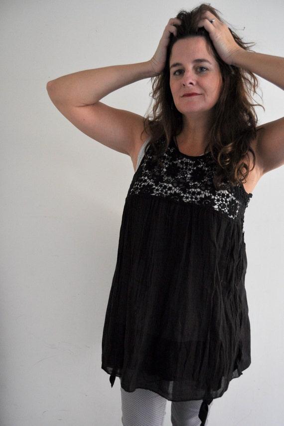Granny Crochet Slip Dress Layering Dress Tunic Top Mini Plus