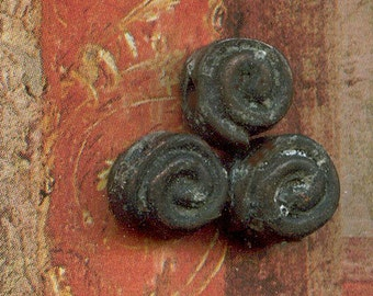 3 Etched Bronze Spiral Beads - Rustic, Tribal, Primitive Boho Accent Beads for Bracelets, Necklaces and Earrings - 6SP-BE