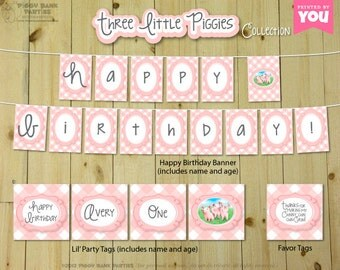 Three Little Piggies Collection : Print at HOME Party Decorations | Three Little Pigs Birthday | Gingham | DIY Printable | Digital Files