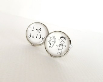 SALE! Father's Day Custom Kids Artwork Cufflinks - Your Childs Drawing or Handwriting in Silver Plated Cuff Links for Dad Grandpa Graduation