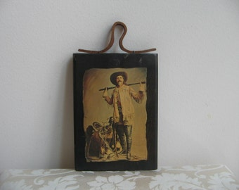 Vintage Buffalo Bill Old West Rustic Wall Art Print Wood Decoupage Rawhide, William F. Cody American Legend, Rifle Saddle Lariat