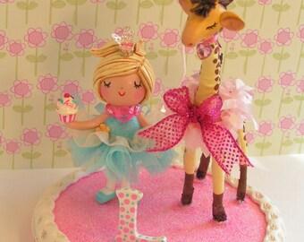 Circus Party Cake Topper, Circus Theme Cake Topper, Circus Giraffe, Ballerina Cake Topper, Giraffe Cake Topper, 2nd Birthday, 3rd Birthday