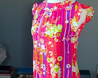 Vintage 60s 1960s neon floral MOD print maxi DRESS / psychedelic print / flower power / Hawaiian beach vacation resort / summer festival