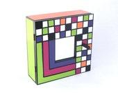 Key Cabinet Mulicolor,Wall hanging wooden box, Key box, Geometric pattern box, Wall cabinet, Handpainted box