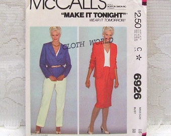 McCalls 6926 - Misses Jacket, Skirt, and Pants Pattern - Size 16 -  - Make It Tonight, Wear It Tomorrow