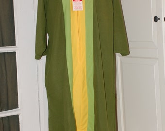 50s 60s Green Model's Coat, House Coat, Lucy Robe from Paulette, NWT, L/XL