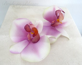 Wedding hair accessories Orchid bobby pins Purple white real touch set of 2 Bridal hair accessory