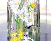 Oil Vinegar Dispenser With White Yellow Dasies Large