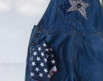 Vintage Jean Bibs. Summer Street Festival Wear. Indie grunge Chic. Farm Girl chic. Size M- L