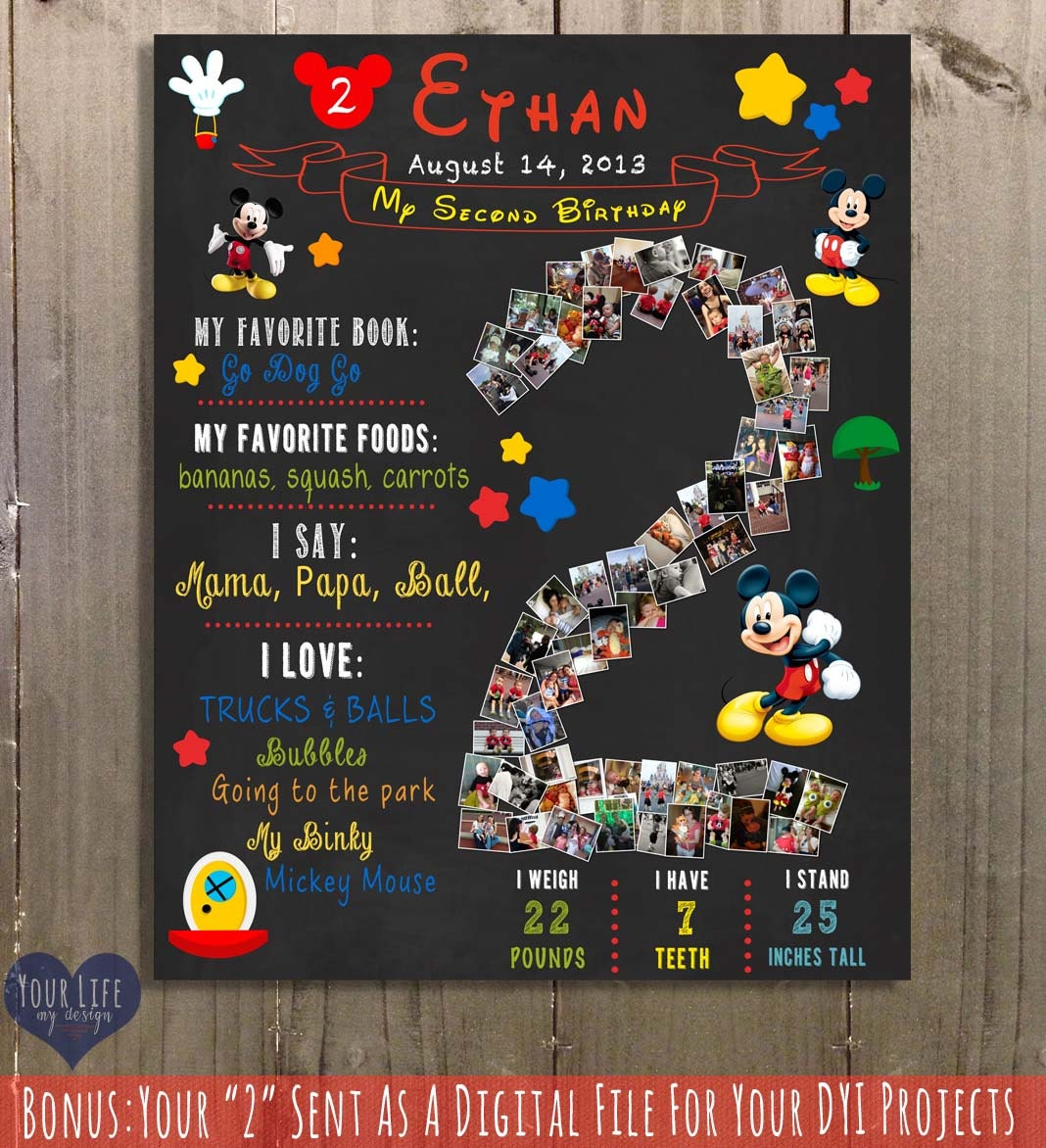 Mickey Mouse Birthday Chalkboard Sign Two Year By