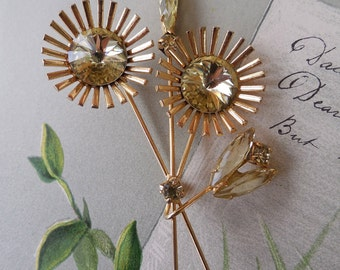Vintage Citrine Flower Brooch w/ Rivoli & Navette Rhinestones