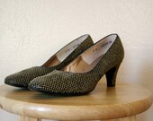 FREE shipping! Vintage Shoes / 60's Embellished Heels / Party High Heels / 7B