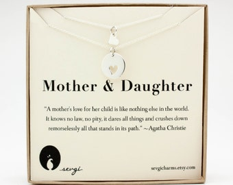 Mother Daughter Necklace Set - Kids & Baby . Sterling Silver Matching Heart Jewelry . Gift Ideas for Mom, New Mom, Her, Mother, Wife