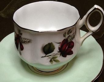 Teacup and saucer Fine bone China Elizabethan England rose sale
