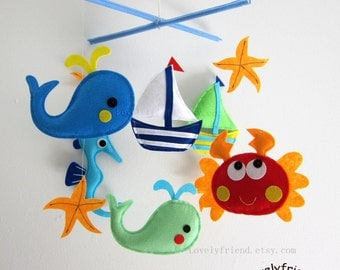 "Baby Mobile - Crab Crib Mobile - Handmade Nursery Mobile - ""Playing on the beach "" (Match your bedding)"