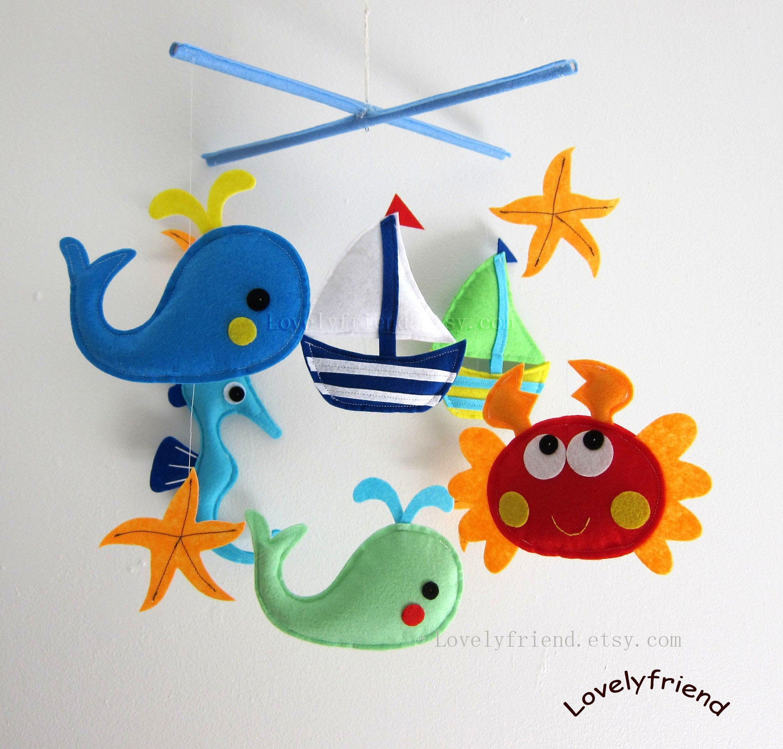 baby mobile crab crib mobile handmade nursery mobile. Black Bedroom Furniture Sets. Home Design Ideas