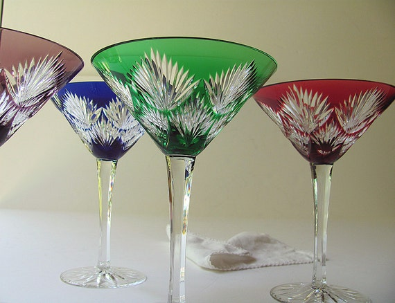 Vintage Crystal Martini Glasses Design Guild Starburst Cut