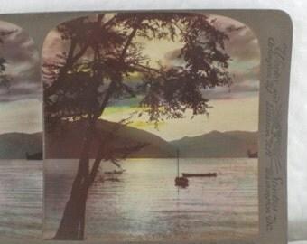 Antique Color Stereograph Card Lake Chuzenji Japan 1904 Black and White Vintage Victorian Photograph GallivantsVintage