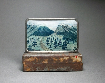 Belt Buckle American Wilderness Pine Trees Mountains
