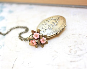 Flower Locket Necklace Pink Flower Charms Brass Jewelry Oval Photo Locket Pendant Necklace Vintage Style Nature Inspired Long Chain