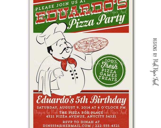 Pizza Party Invitation, I will customize for you, Print your own