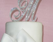As Seen on TLC's Four Weddings - Monogram cake topper - Swarovski Crystal cake topper