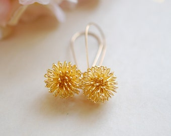 Gold Dandelion Earrings, Gold Plated Wire Wrapped Ball Dangle Earrings, Gold Drop Earrings. Dandelion Jewelry, Valentines day gift for her