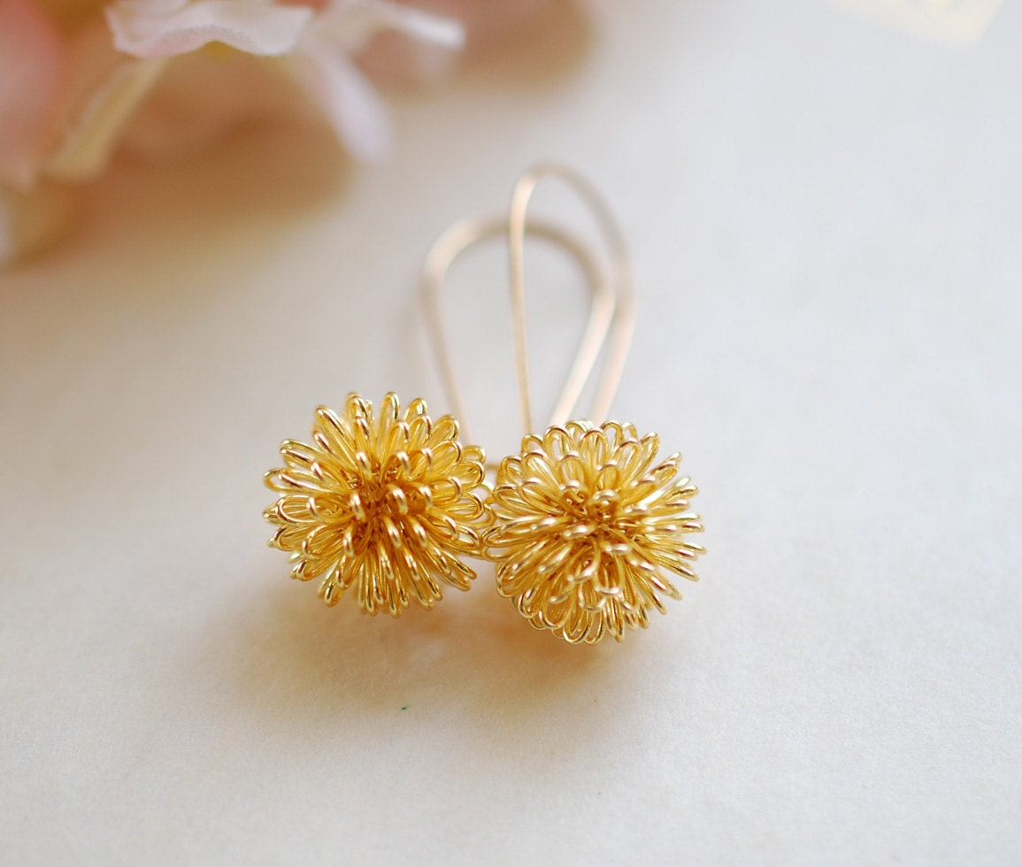 gold dandelion earrings gold plated wire wrapped dangle