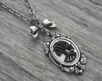 Gothic Lolita Skull Cameo and Bow Silver Necklace Skeleton Lady Cameo Victorian Goth Jewelry Black and White Cameo Macabre Horror Punk Rock