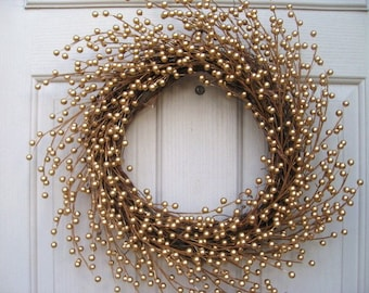 Gold Berry Wreath, Wedding Wreath, Wedding Decor, Bridal Shower Decor, Holiday Wreath, Front Door Decor, Golden Wreath, Year Round Wreath