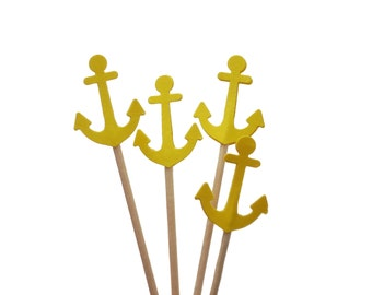 Bright Yellow Anchor Cupcake Toppers, Nautical Baby Shower Decorations - No355