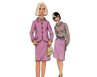 """60s Skirt Suit Sewing Pattern Blouse with Roll Collar Straight Skirt Jacket Pattern Women Size 12 Bust 32"""" (81 cm) Simplicity 6874 S"""