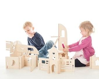 Rocketship Wood Toy Rocket Spaceship toy // Interactive Modular Waldorf Inspired Wood Building Toy for Creative Kids