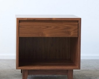 Solid Walnut Nightstand / Bedside Table - Surround and Drawer