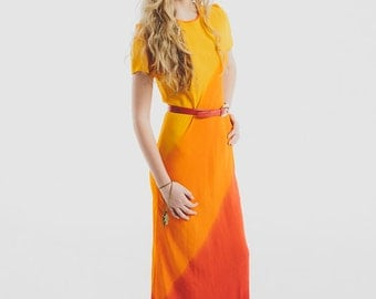 Vintage 80's Ombre  Long Maxi Dress / Sunburst Colors / Yellow Orange Red / Stunning size xs-s