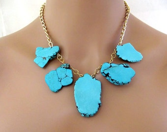 Blue Turquoise Necklace, Gold Turquoise Necklace, Statement Bridesmaid Necklace, Turquoise Jewelry