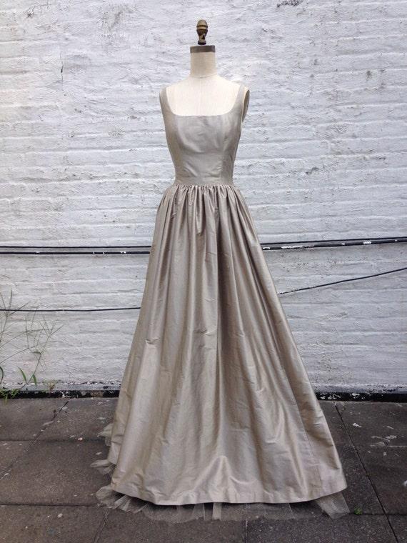 Platinum Silk Shantung Simple Ball Gown Wedding By