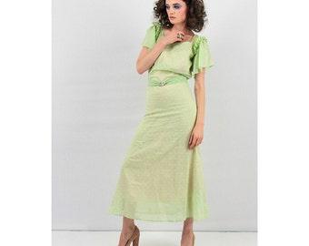 1930s dress / 30s maxi dress / Cotton voile Swiss dot gown with flutter sleeves / Creme de Menthe XS