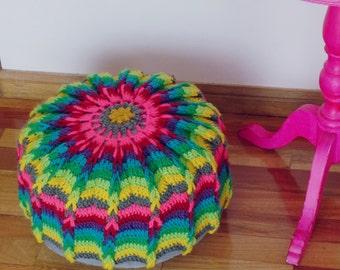Ottoman Crochet Pattern Mandala PDF - floor pillow or crochet hoop wall art photo tutorial - Instant DOWNLOAD
