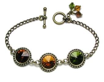 Swarovski Crystal Topaz Brown Olive Green Rivoli Antique Brass Chain Bracelet Fall Boho Style Natural Autumn Bohemian Tone Jewelry for Women