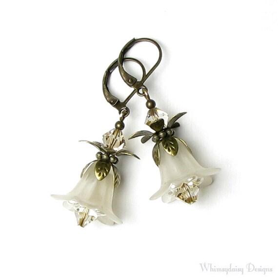 Ivory Flower Earrings, White Linen Floral, Swarovski Crystal, Antique Brass Earrings, Off White Flower Jewelry, Vanilla, Cream, Romantic