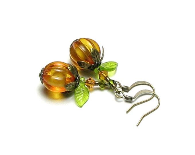 Pumpkin Earrings for Halloween in Antique Brass Orange Acrylic Round Pumpkin Beads Autumn Leaf Fall Pumpkin Jewelry Costume Accessory Women