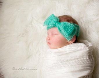 Mint Green Newborn Headwrap Headband, Photo Prop Mohair Silk Knit Bow Headwrap Newborn Photo Prop, Ready to Ship, Newborn to Small Baby Size