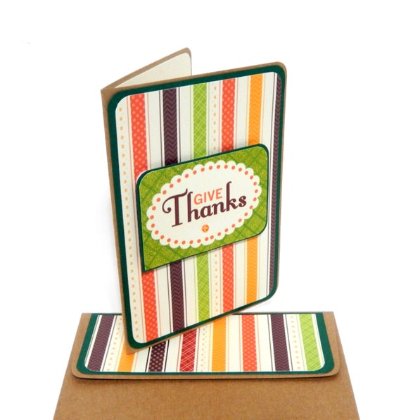 Thanksgiving Give Thanks Card with Matching Embellished Envelope